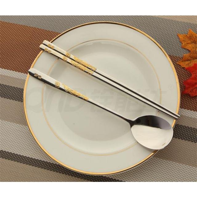 局部镀金-鸳鸯 匙筷